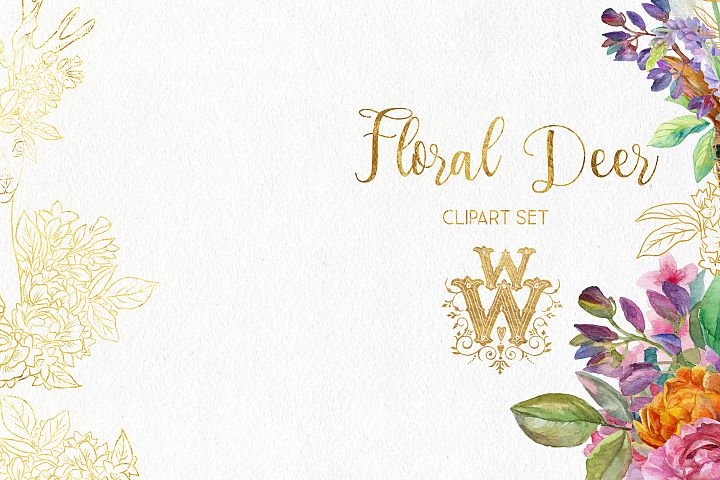 Watercolor floral deer printable clipart, golden graphics example 3