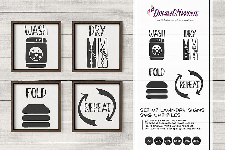 Set of 4 Laundry Signs SVG | Wash, Dry, Fold, Repeat