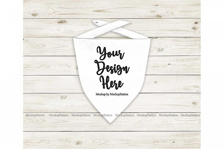 Dog Bandana Mock Up, Pet White Scarf Flat Lay Mockup