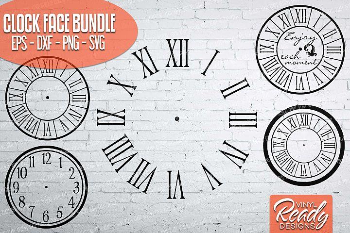 Clock Face Bundle - 5 designs included - Vector Clip Art