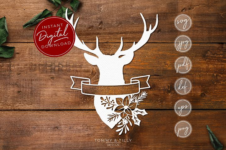 Stag Head No.3 - SVG EPS DXF PNG PDF JPG Cut File