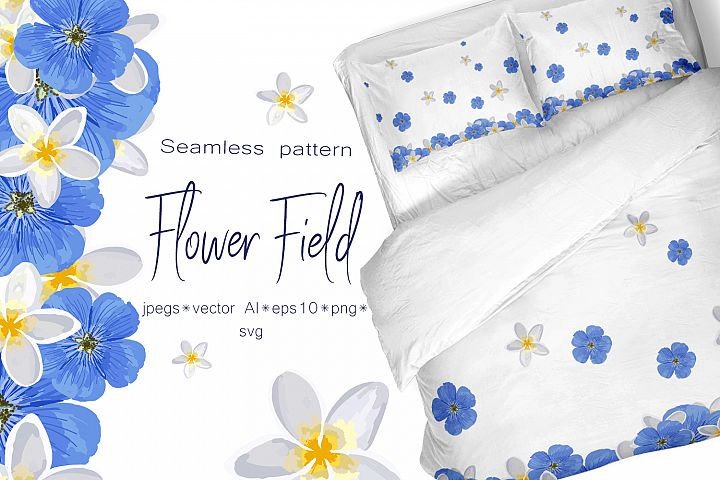 Spring set Flower field Seamless pattern and seamless bord