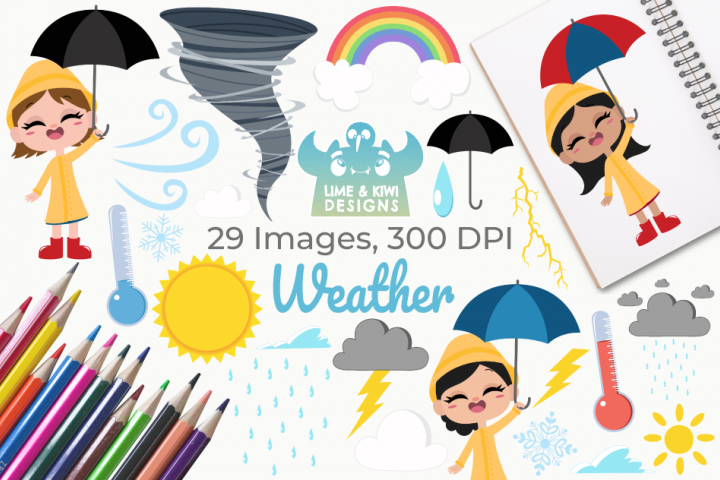 Weather Clipart, Instant Download Vector Art, Commercial Use
