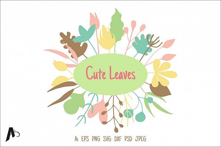 Cute Leaves Set, Floral Element Ai, EPS, PNG, SVG, DFX, PSD