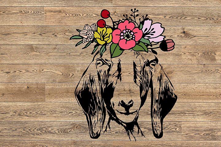 Goat Head whit flower SVG, feet goats Farm Milk 1317S