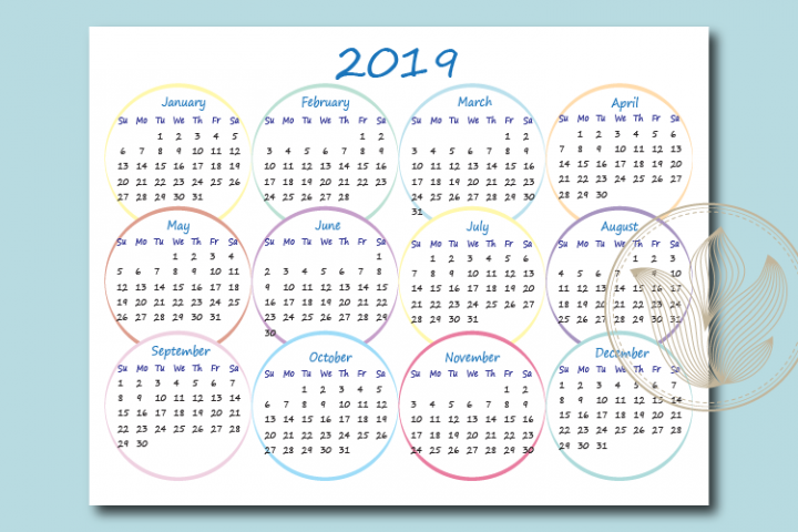 One page Calendar with circles 2019, Ready to print calendar