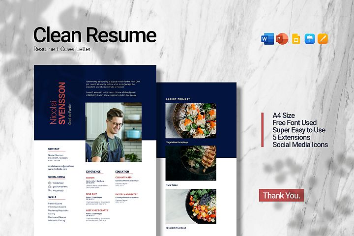 Clean Chef Resume 5 in 1