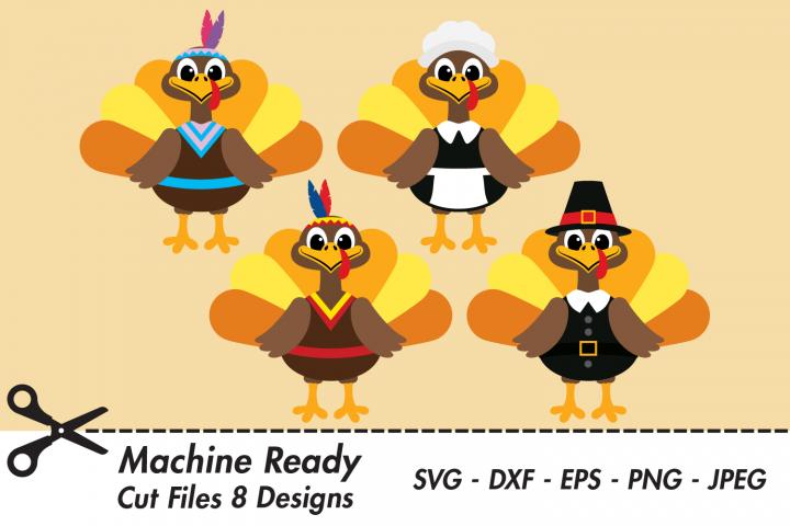 Cute Thanksgiving Turkey Bundle SVG Cut Files