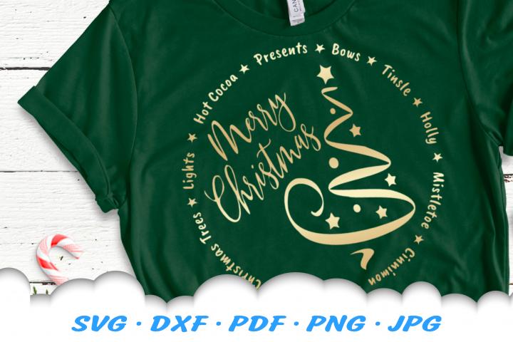 Merry Christmas Tree Vinyl SVG DXF Cut Files Bundle