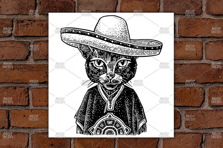 Cat dressed in the poncho, sombrero. Vintage engraving
