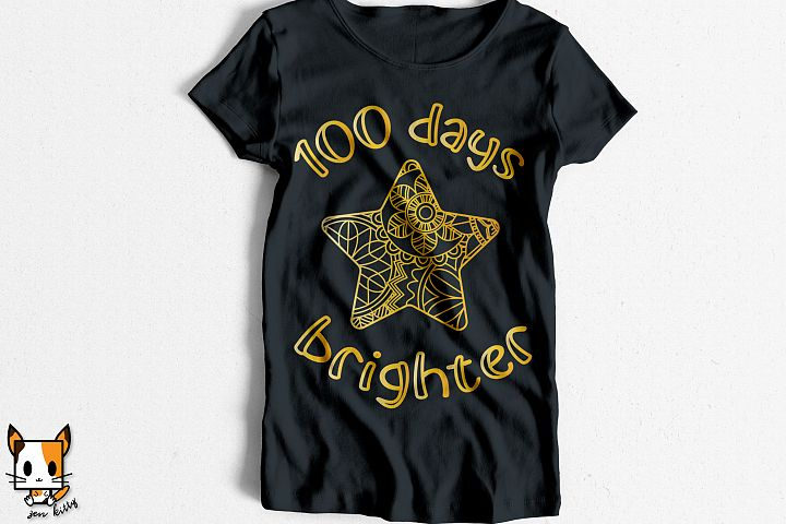 100 Days Brighter - 100 Days of School Zentangle SVG PNG DXF