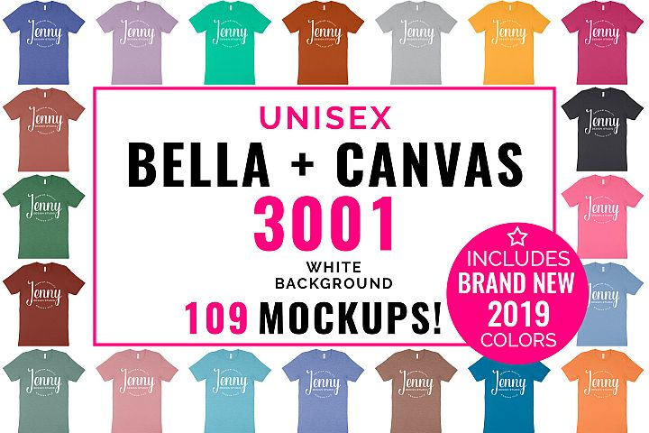 Bella Canvas 3001 Unisex Mockup Bundle, 109 Mockups