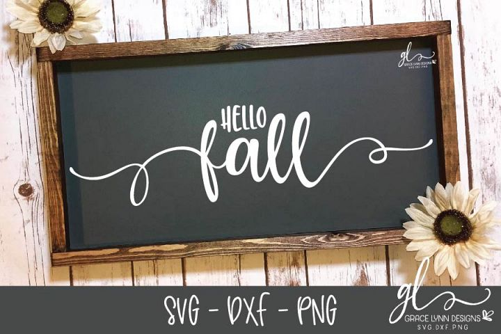 Hello Fall - Thanksgiving Cut File - SVG, DXF & PNG