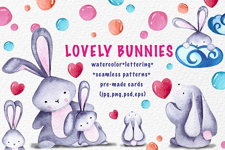 Lovely bunnies-watercolor collection