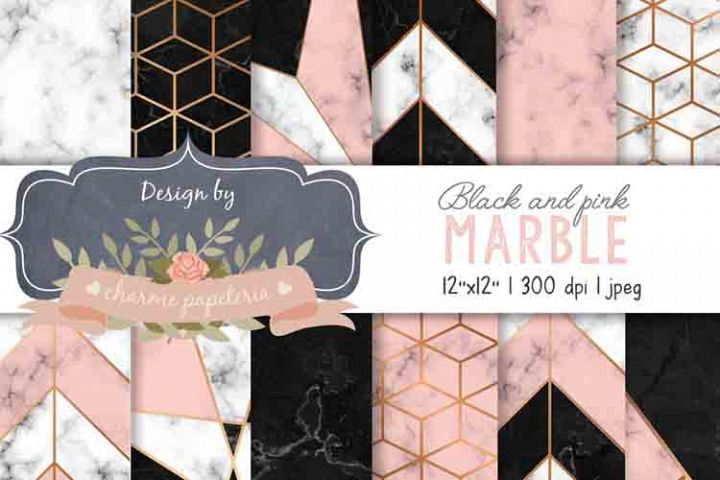 Black and Pink Marble Geometric Gold Digital Paper, Marble