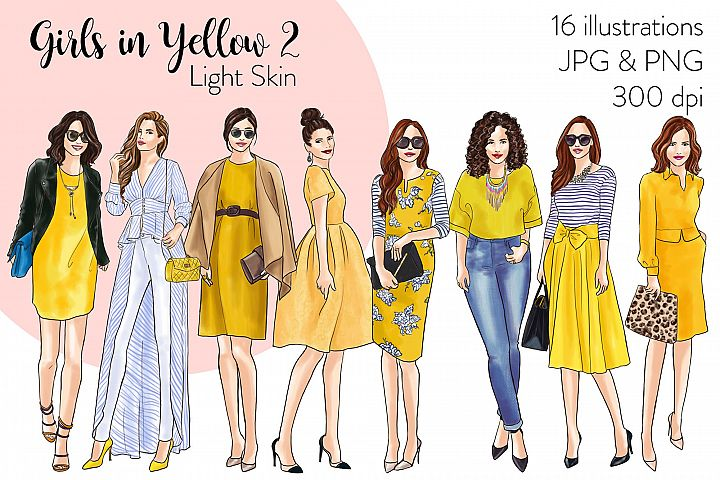 Fashion illustration clipart - Girls in Yellow 2- Light Skin