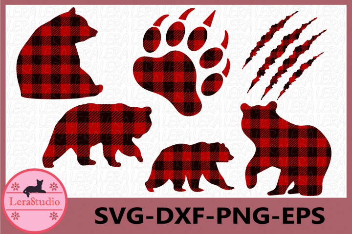 Bear Buffalo Plaid Svg, Bear Paw Cut Files, Bear svg