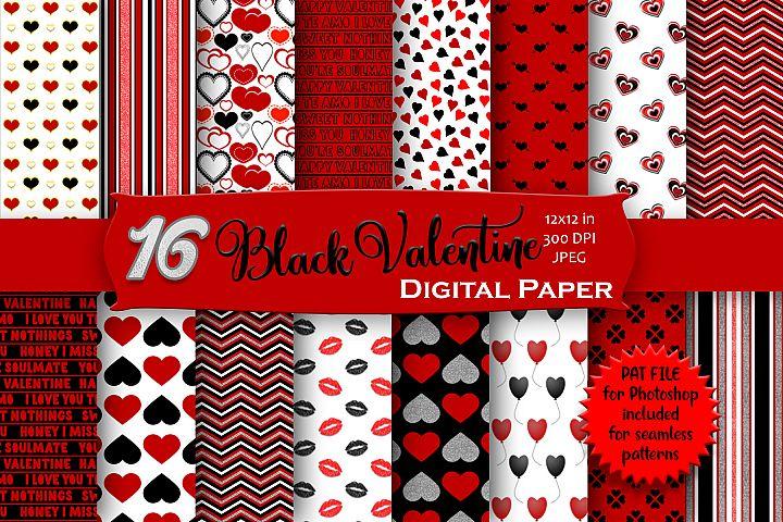 Black Valentine Digital Paper Pack