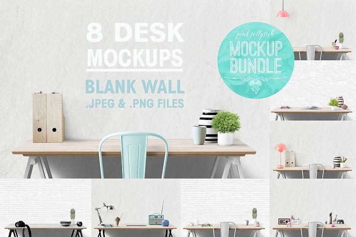 wall mockup, interior wall, desk mockup, blank wall mockup
