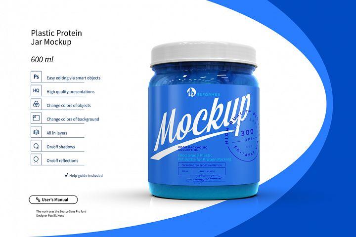 Food Grade Plastic Pet Bottle for Protein Packing Mockup