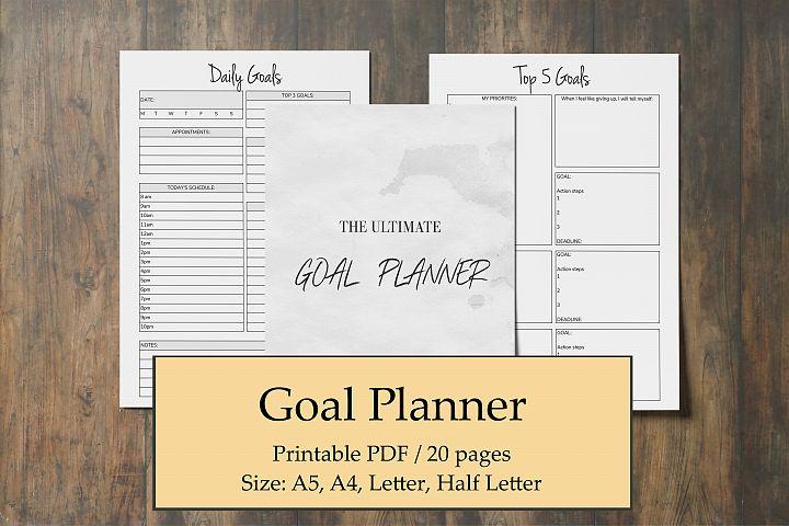 Goal Planner Printable 2019, Goal Worksheet, Planner Insert