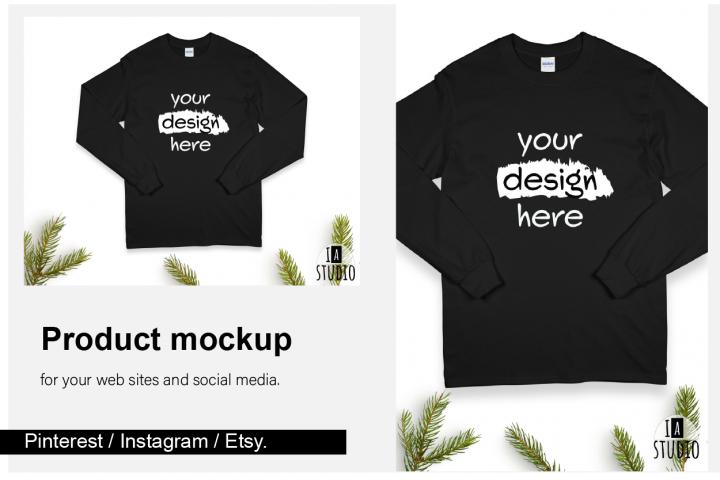 Christmas Long Sleeve Tee Mockup / Gildan 2400 / Black