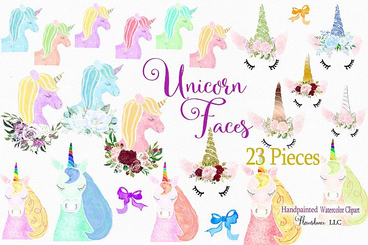 Unicorn Face Clipart, Pastel Colors with Glitter Horns