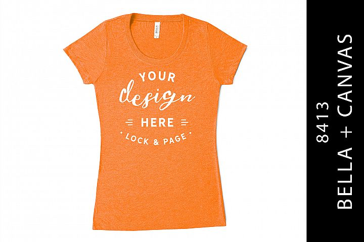 Orange Bella Canvas 8413 Triblend Mockup T-Shirt On White