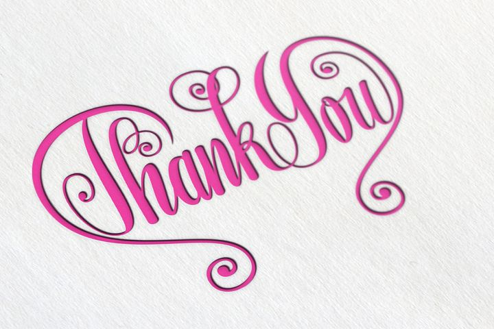 Thank You Butterfly Lettering SVG