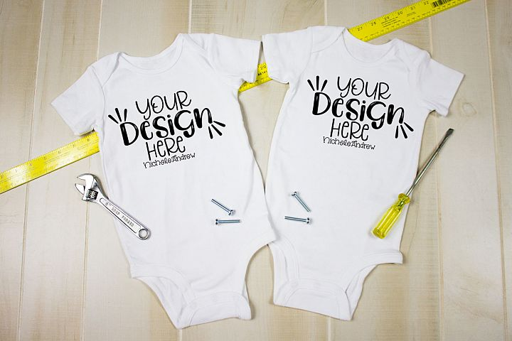 Twin Bodysuits With Tools, A Mockup For Crafters