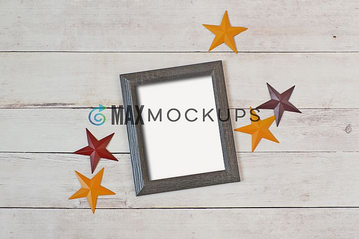 Wood Frame Mockup, flatlay, styled stock photography