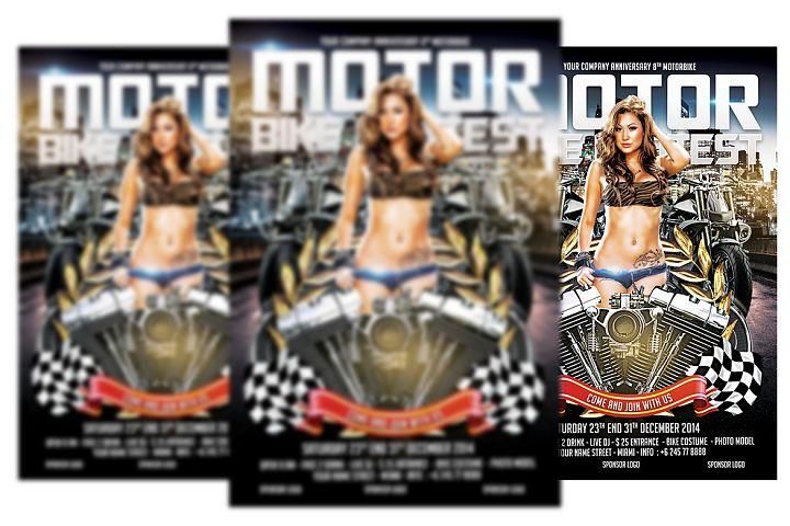 motorbike Contest Flyer Template
