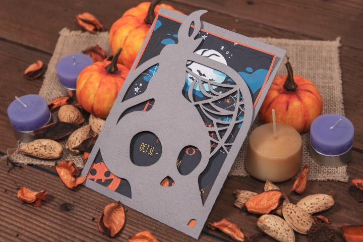 Night of the Dead Halloween Skull Invitation cutting file