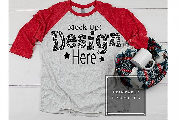 Next Level 6051 Red Raglan Mockup Shirt Christmas Mug Mockup