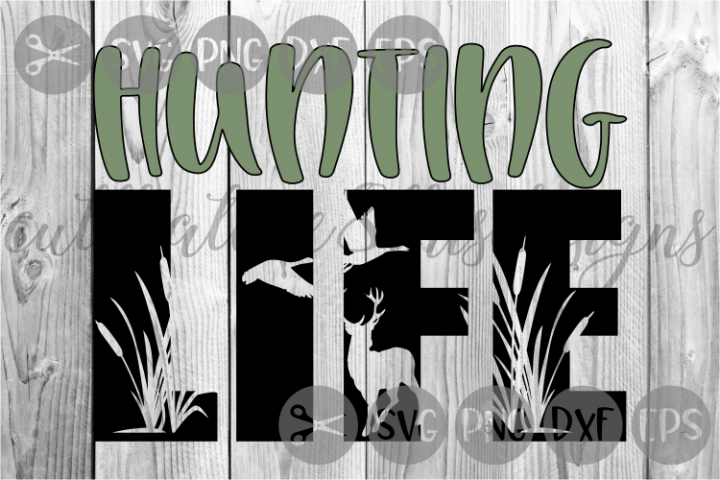 Hunting Life, Deer, Cat Tails, Wild Life, Cut File, SVG.