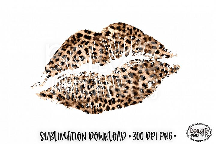 Valentines Sublimation, Leopard Print Lips Sublimation