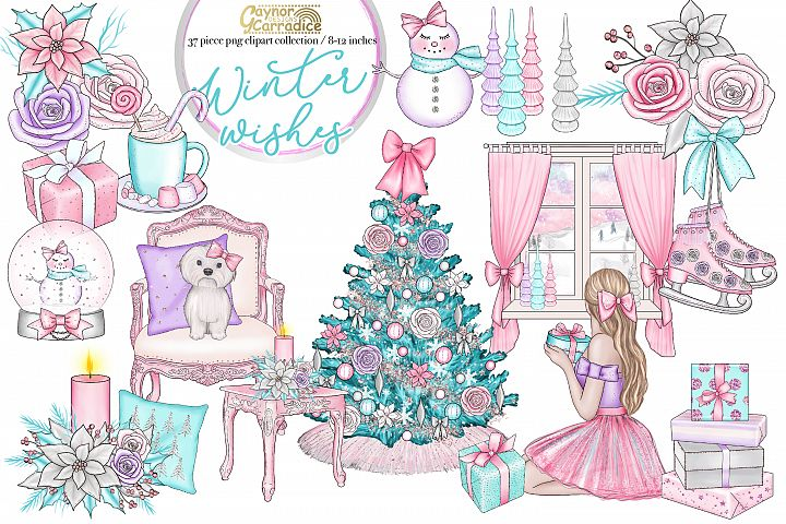Winter Wishes - pink Christmas clipart collection