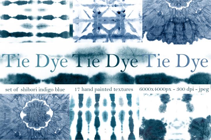 17 Shibori indigo blue tie dye hand painted textures.