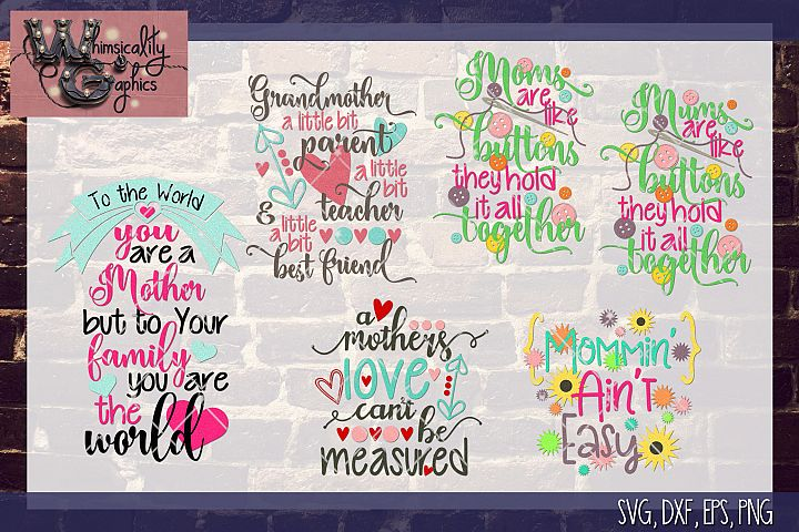 Mothers Day Bundle SVG, DXF, EPS, Png Comm & Pers