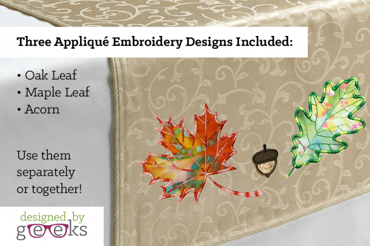 Fall Leaves and Acorn Applique Embroidery Design Set