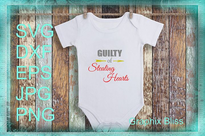 Guilty Of Stealing Hearts Valentine Design SVG