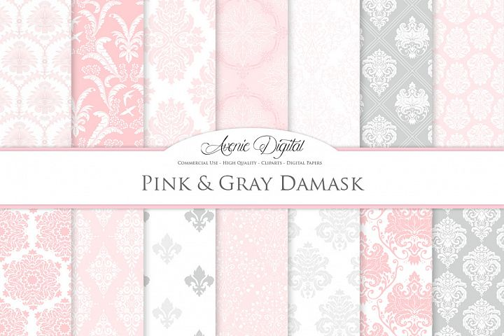 28 Pink and Gray Damask Patterns - Seamless Digital Papers Bundle