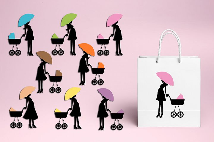 Silhouette Pregnant woman, umbrella baby carriage illustrations