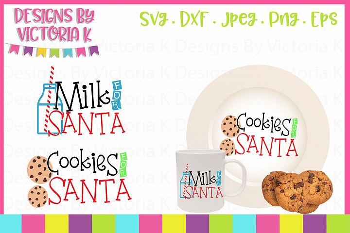 Milk for Santa, Cookies for Santa, Christmas, SVG, DXF, PNG