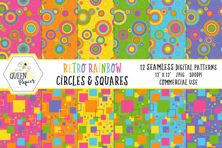 Rainbow Retro Seamless Digital Patterns, Squares & Circles