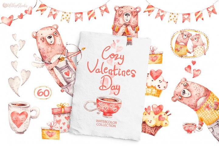 Cozy Valentines Day. Lovely bears watercolor collection