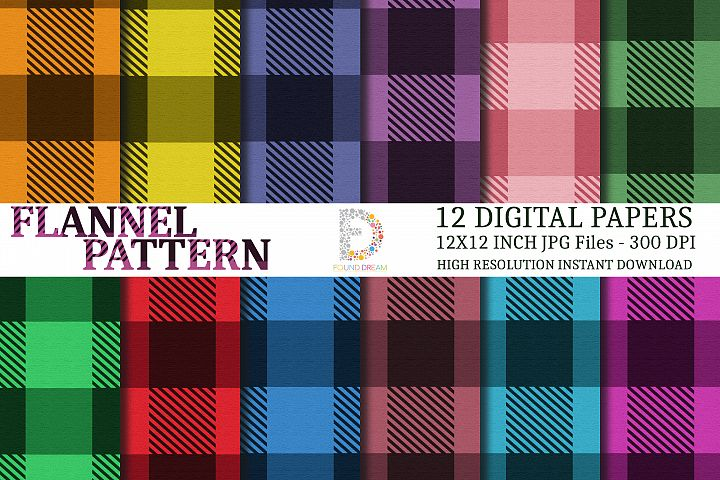 Flannel Digital Papers | 12 x 12 inch