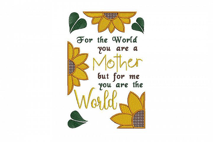 Mother quote embroidery design, two sizes