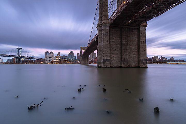 View on Brooklyn bridge, Manhattan Bridge and Dumbo