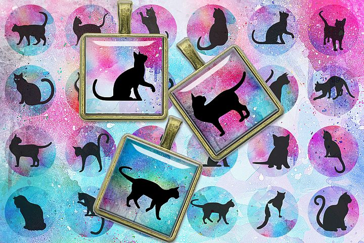 Cats Silhouette Digital Collage Sheet,Cats Silhouette Square